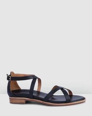Bared Footwear Loon Flat Sandals   Women's - Sandals (Black Leather)
