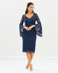 Montique - Madeline Embroidered Mesh Dress