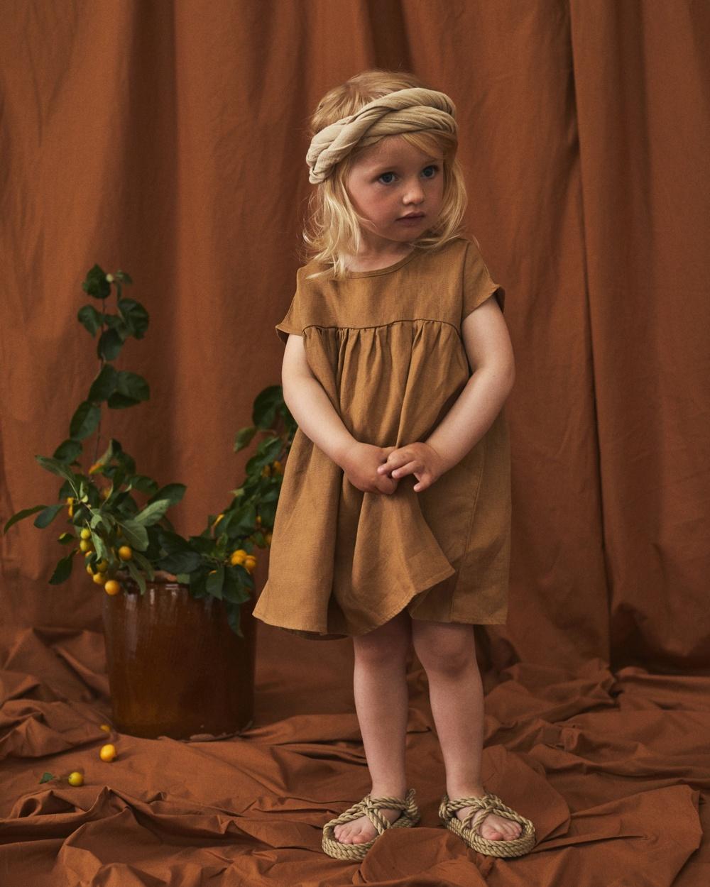 Lil' Atelier Saga Short Sleeve Loose Dress Kids Dresses Brown