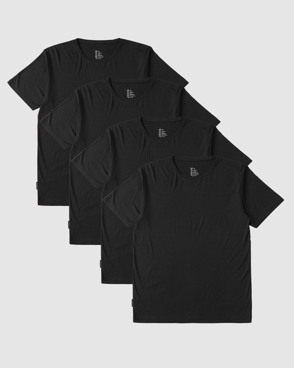 Boody Organic Bamboo Eco Wear - 4 Pack Crew Neck T Shirt - Short Sleeve T-Shirts (Black) 4 Pack Crew Neck T-Shirt