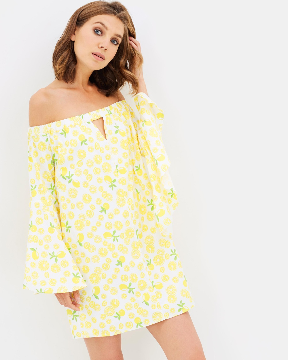 Atmos & Here ICONIC EXCLUSIVE Jayda Off Shoulder Dress Dresses Yellow ICONIC EXCLUSIVE Jayda Off Shoulder Dress
