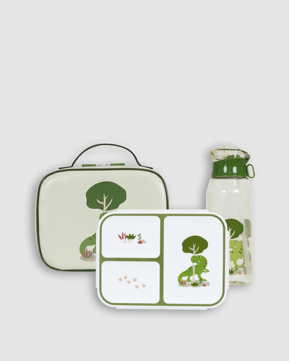 Bobbleart Large Lunch Bag Bento Box and Drink Bottle T Rex Novelty Gifts Light Green T-Rex