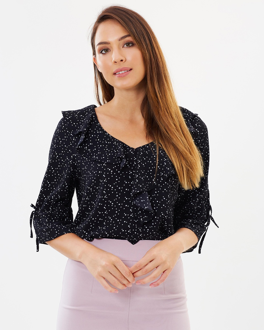 Forcast Sadie Frill Blouse Tops Black Sadie Frill Blouse