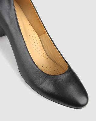 Airflex Cherish Leather Block Heel Pumps - All Pumps (Black)