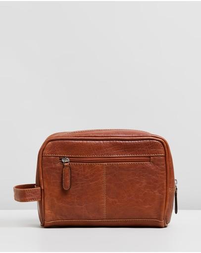 Double Oak Mills George Leather Washbag Tan