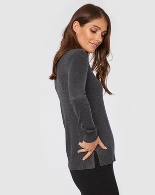 Bamboo Body Bamboo Crew Neck Knit - Jumpers & Cardigans (Charcoal)