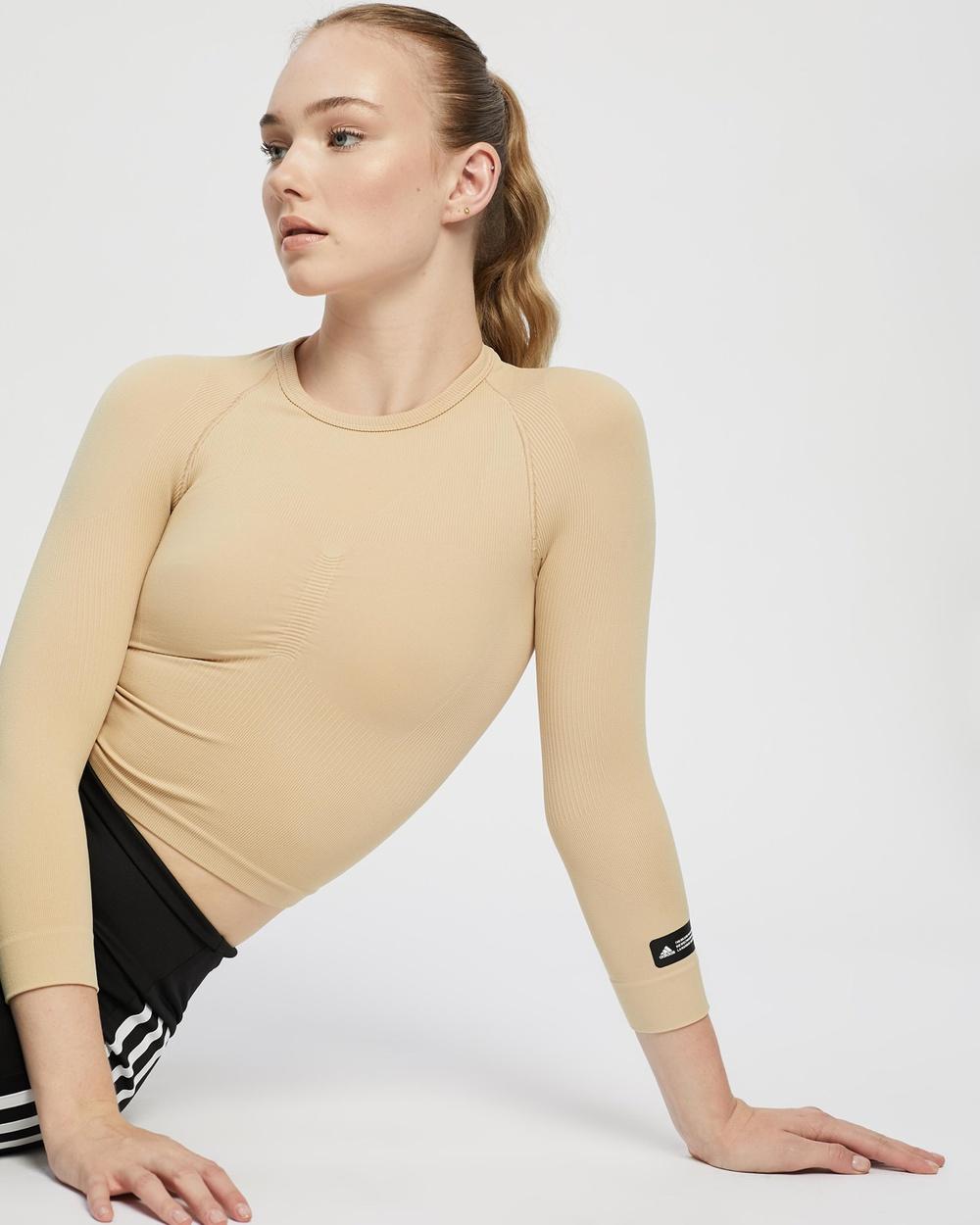 adidas Performance Formotion Cropped Training Tee Long Sleeve T-Shirts Hazy Beige