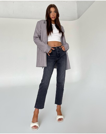 TOPSHOP - Washed Raw Hem Straight Leg Jeans