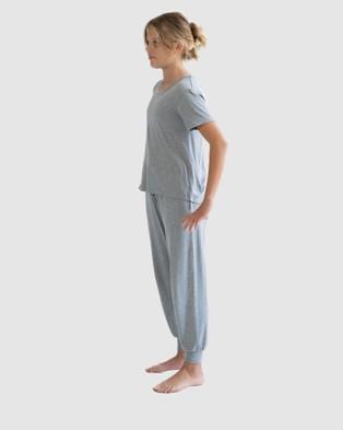 Love Haidee Lounge Pants & Short Sleeve Sleep Tee Set - Two-piece sets (Grey)