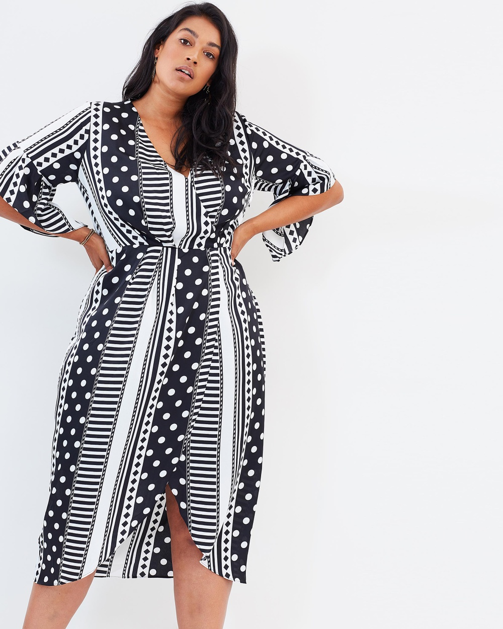 Atmos & Here Curvy ICONIC EXCLUSIVE Santana Wrap Midi Dress Printed Dresses Monochrome Stripe ICONIC EXCLUSIVE Santana Wrap Midi Dress