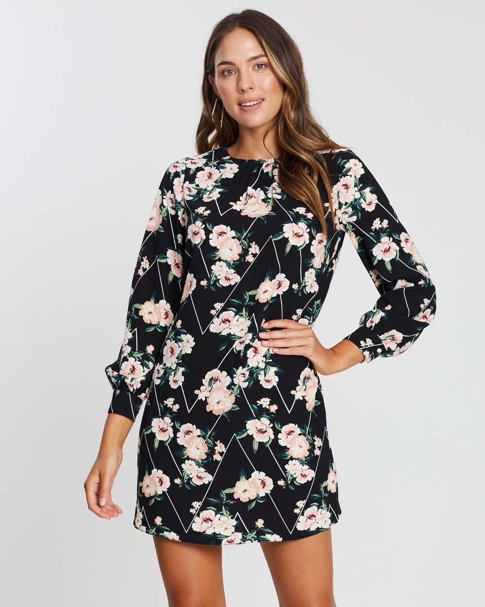 129ba560cc26f2 Floral Chevron Shift Dress by Dorothy Perkins Online | THE ICONIC |  Australia