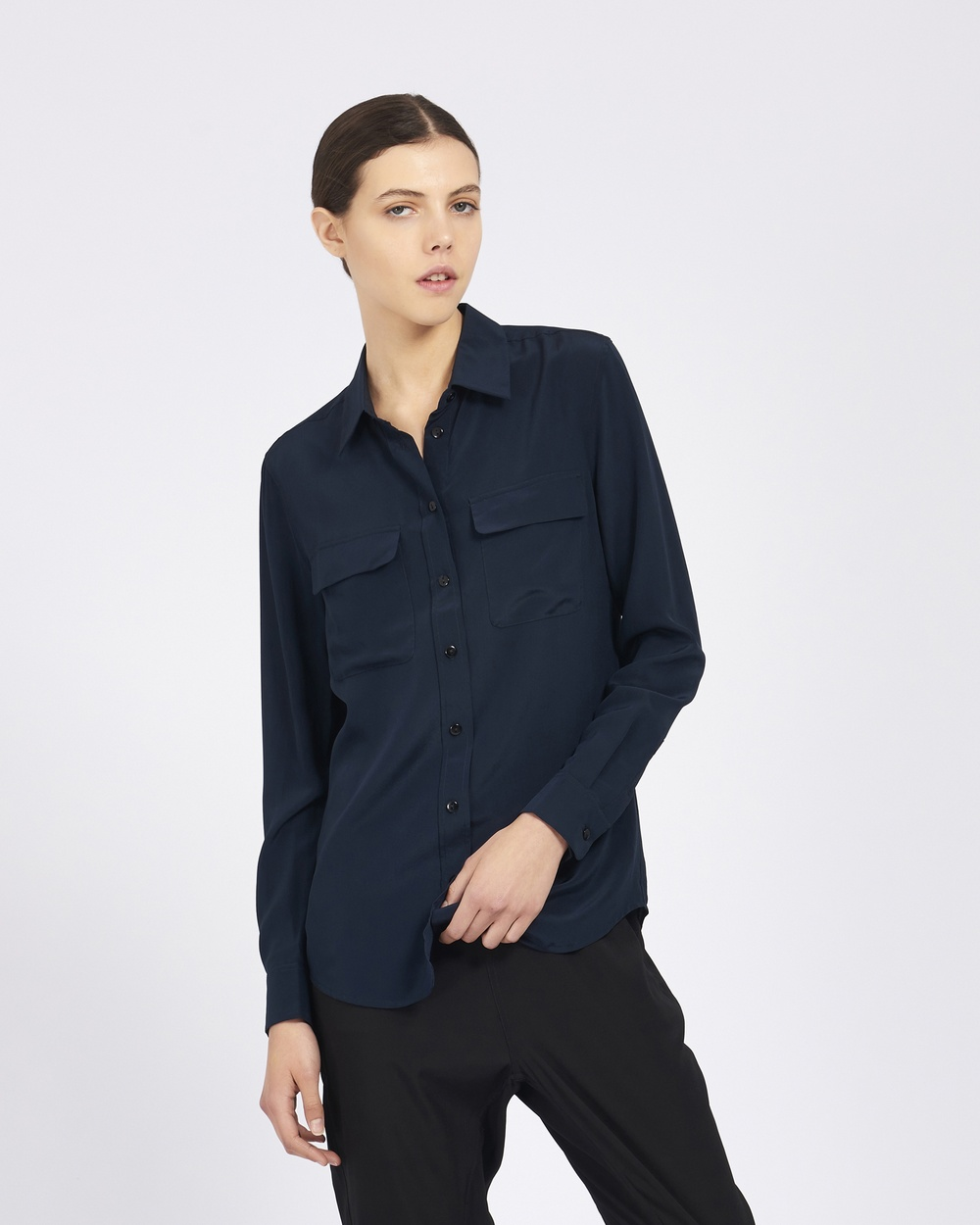 GINIA RTW Poppy Silk Shirt Tops Navy Poppy Silk Shirt