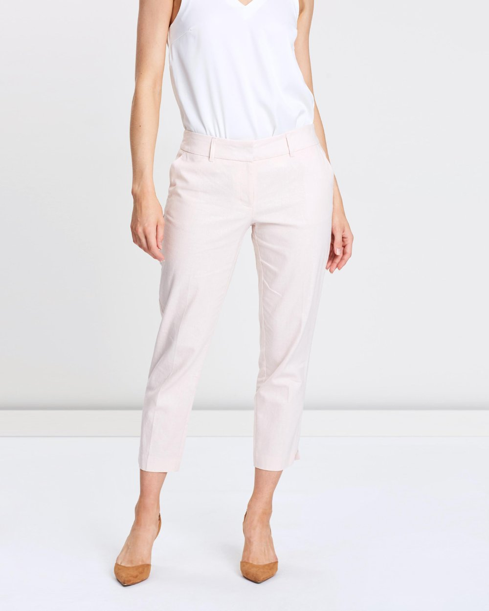 3ab37cad7 Linen Tapered Ankle-Grazer Trousers by Dorothy Perkins Online   THE ICONIC    Australia