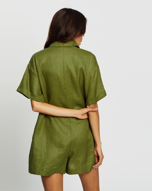 AERE Relaxed Utility Playsuit - Jumpsuits & Playsuits (Olive Oil)