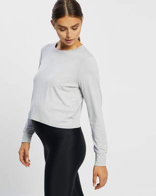 Cotton On Body Active Maternity Cross Back Long Sleeve Top - T-Shirts & Singlets (Grey Marle)