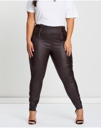 Lost Ink Plus - Coated Skinny Zip Trousers