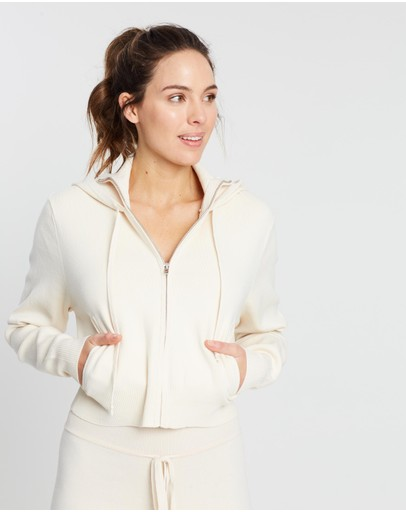 Live The Process Crop Knit Hoodie Mother Of Pearl