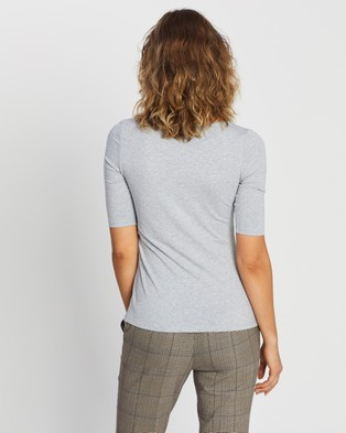 Forcast Lana Elbow Sleeve Tee - T-Shirts & Singlets (Light Grey)
