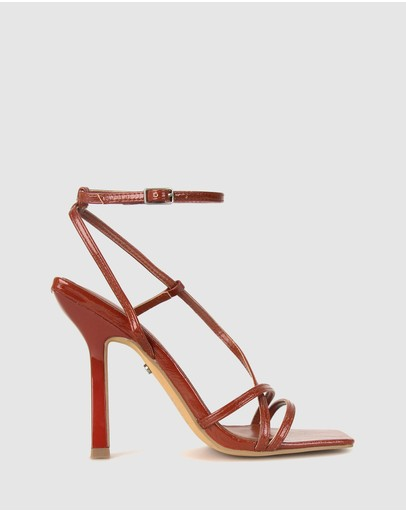 Zu Bonnie Strappy Stiletto Sandals Rust Patent