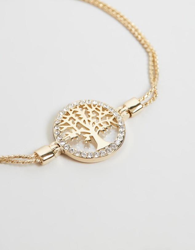 Women Maple Tree Of Life Bracelet with Swarovski Crystals