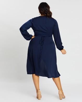 Atmos&Here Curvy Dakota Wrap Front Dress - Dresses (Navy)