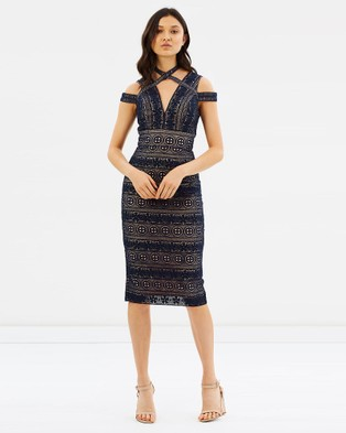 Love Honor – Willow Lace Dress Navy & Nude