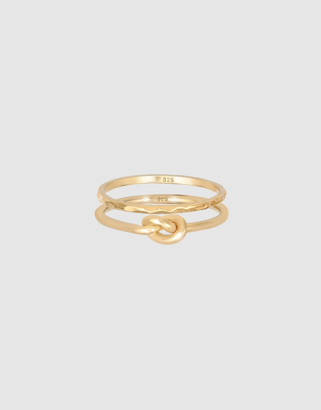 Women Ring Set Knot Trend Basic Minimal in 925 Sterling Silver Gold Plated