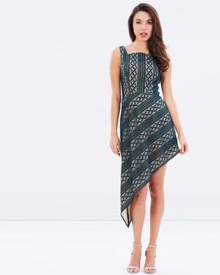 Romance by Honey and Beau – Tara Asymmetric Lace Dress – Dresses (Green & Nude)