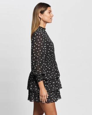 Atmos&Here Henley Mini Dress - Printed Dresses (Black Print)