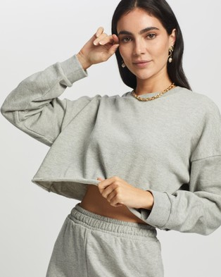 Missguided Crop Sweat & Cycling Short Set - Sweats (Grey Marle)