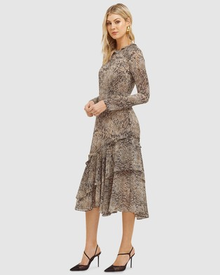 Cooper St - Cobra Long Sleeve Frill Midi Dress - Printed Dresses (Brown) Cobra Long Sleeve Frill Midi Dress