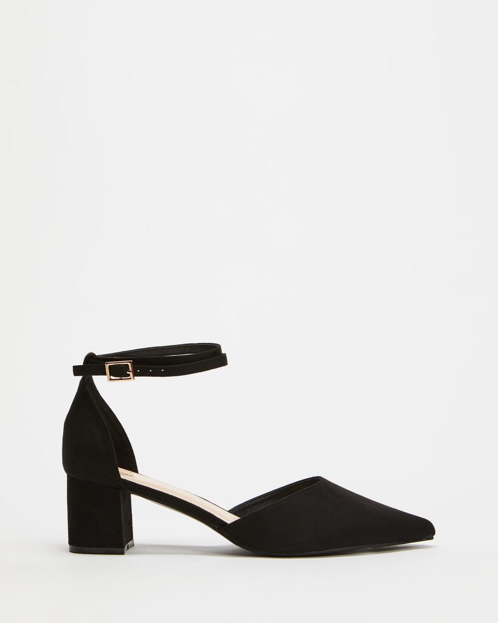 SPURR Helena Heels Mid-low heels Black Microsuede Australia