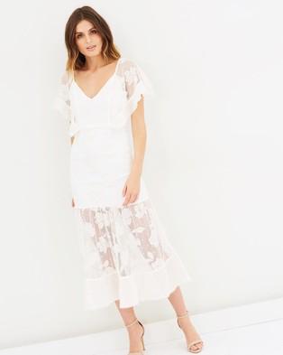 Stevie May – Ruby May Flounce Midi Dress – Bridesmaid Dresses (White & Peach Whip)
