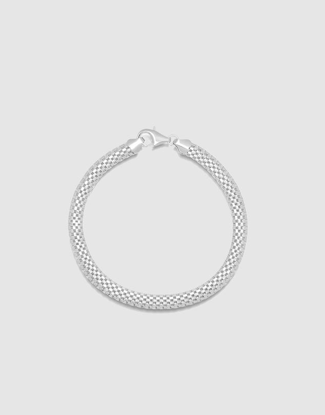 Men Men's Silver Woven Chain Bracelet