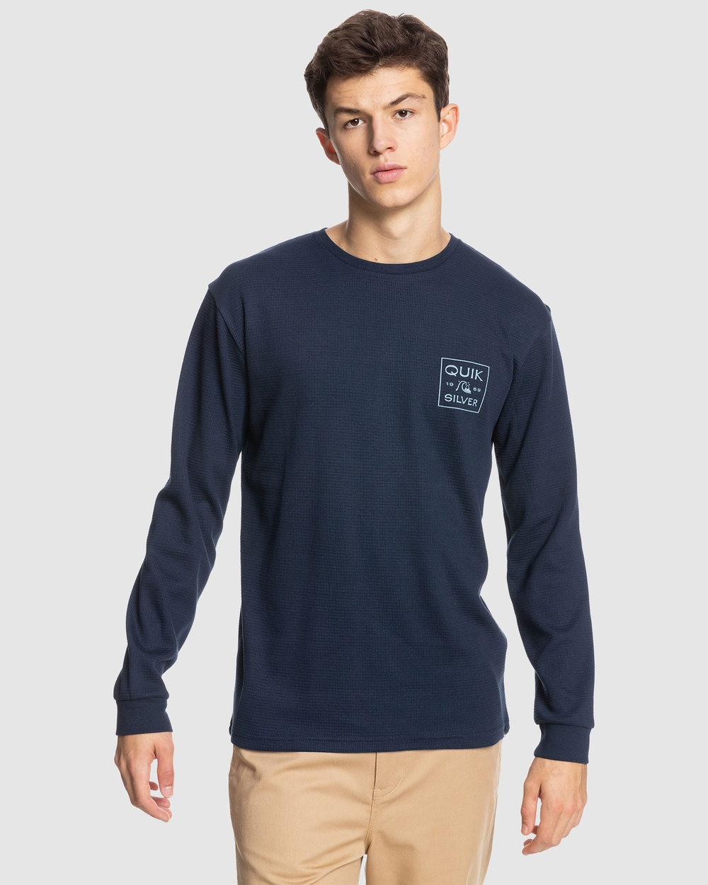 Quiksilver - Mens Square Me Up Long Sleeve T Shirt - Long Sleeve T-Shirts (Navy Blazer) Mens Square Me Up Long Sleeve T-Shirt