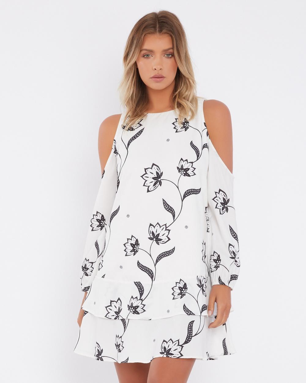 Calli Chairete Cold Shoulder Shift Dress Printed Dresses Milly Floral Print Chairete Cold Shoulder Shift Dress