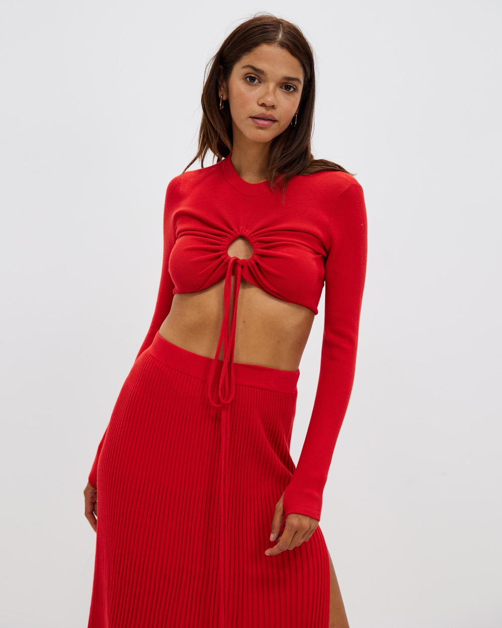 AERE Organic Cotton Cut Out Wrap Top Cropped tops Fire Red