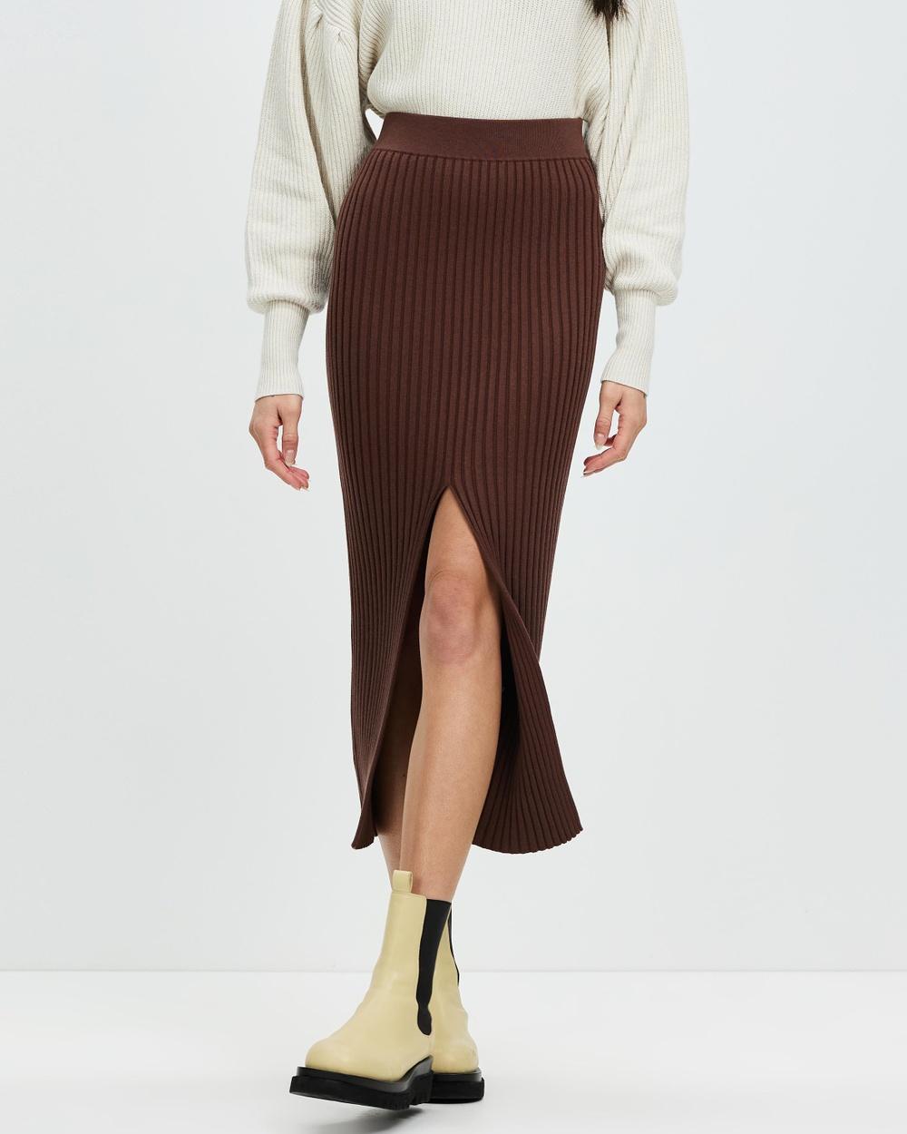 AERE Organic Cotton Blend Ribbed Skirt Pencil skirts Chocolate