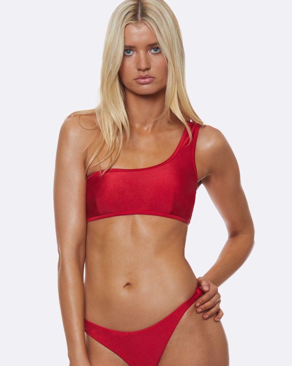 L'urv One Shoulder Bikini Top Bikini Set Red One Shoulder Bikini Top
