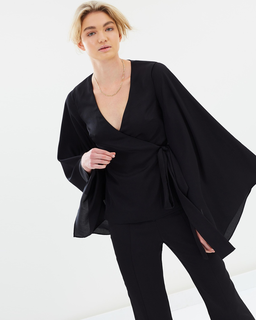 Keepsake the Label Romance Wrap Top Tops Black Romance Wrap Top
