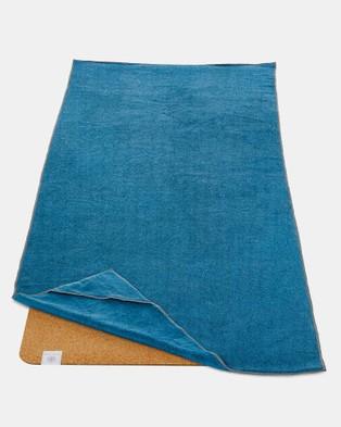 Gaiam Performance Stay Put Yoga Mat Towel - Yoga Accessories (Blue)