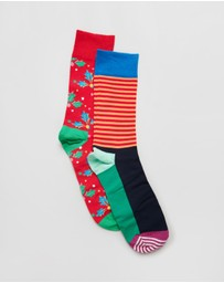 Happy Socks - Christmas Cracker Holly Gift Box