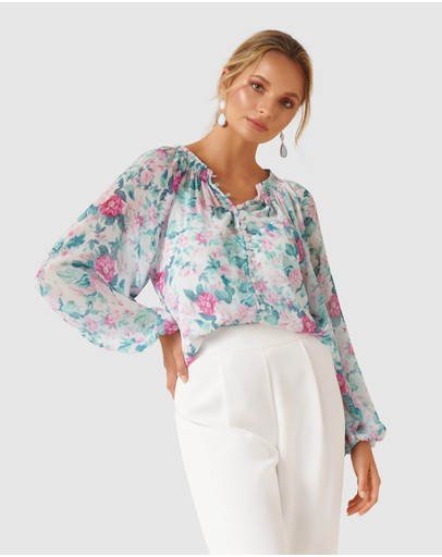 Forever New Issy Gathered Pintuck Blouse Print