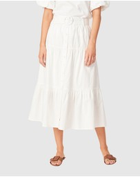 French Connection - Textured Cotton Tiered Skirt