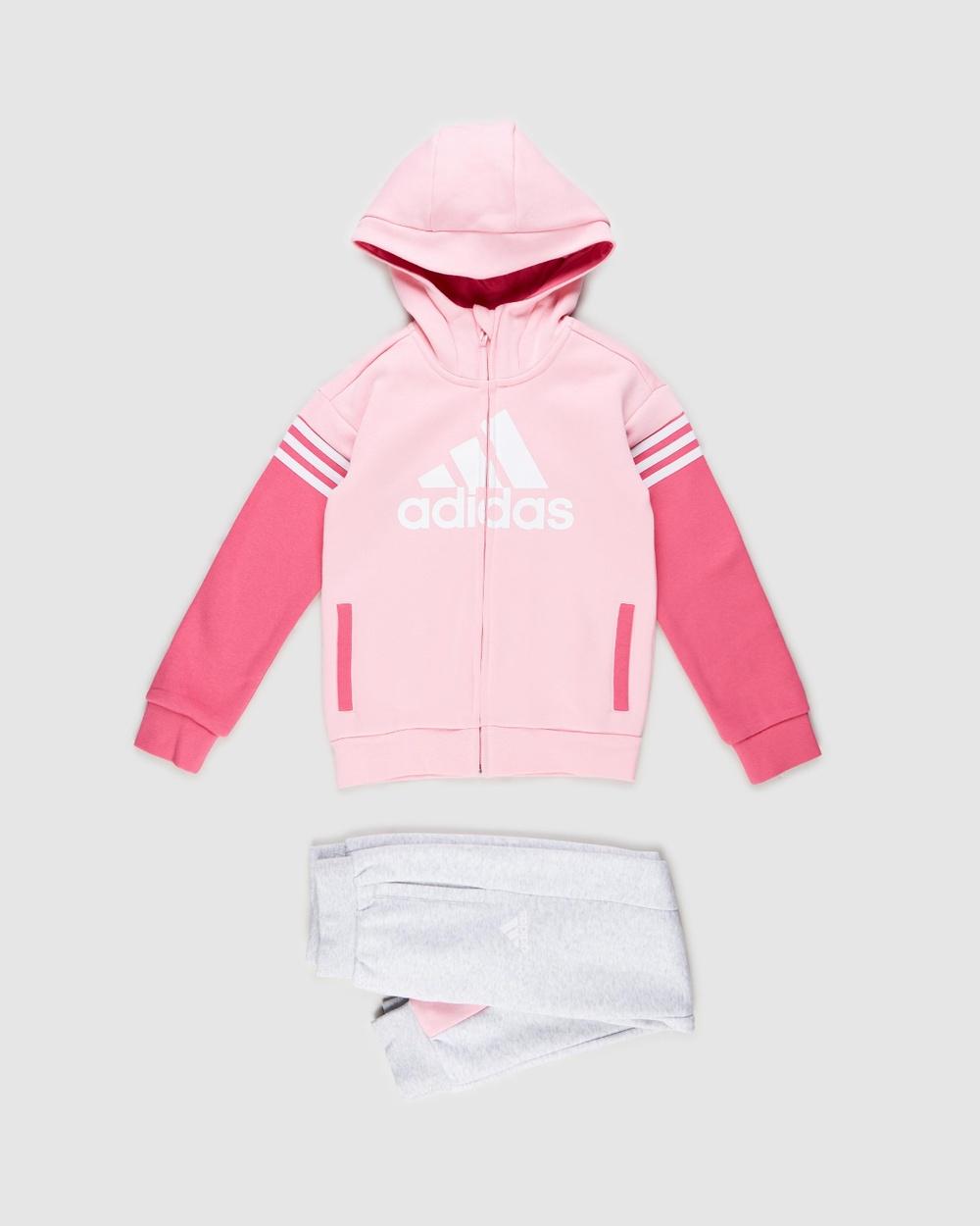 adidas Performance Badge of Sport Fleece Set Kids Hoodies Light Pink & Light Grey Heather