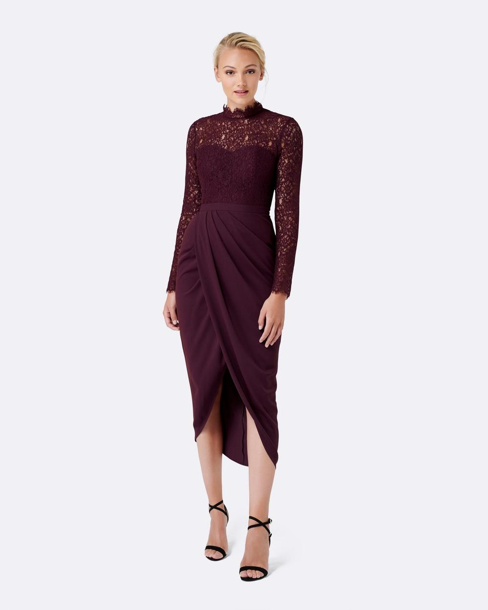 Forever New Larissa Lace Drape Maxi Dress Bridesmaid Dresses Wineberry Larissa Lace Drape Maxi Dress