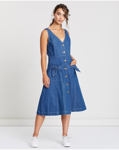 Ryder Luca Denim Midi Dress Blue