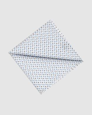 Buckle Clover Pocket Square - Pocket Squares (Navy/White)
