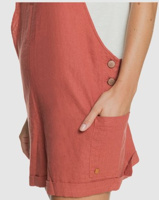 Roxy Womens Low Rising Linen Dungaree Short - Jumpsuits & Playsuits (MARSALA)