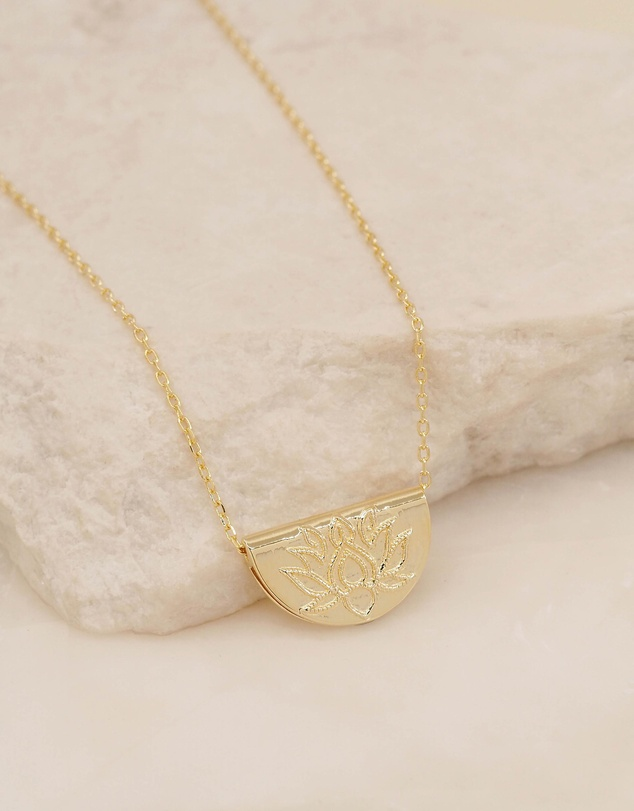 By Charlotte - Lotus Short Gold Pendant Necklace